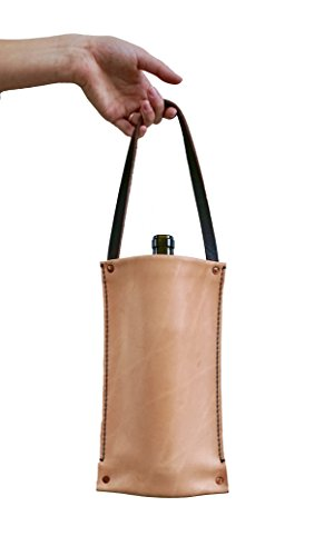 Genuine Real Leather, Hand Crafted, Single Bottle Wine Carrier Tote Gift Bag, Made in the USA Made Leather Single Wine