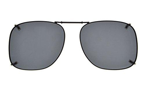 Eyekepper Metal Frame Rim Polarized Lens Clip On Sunglasses 2 1/16