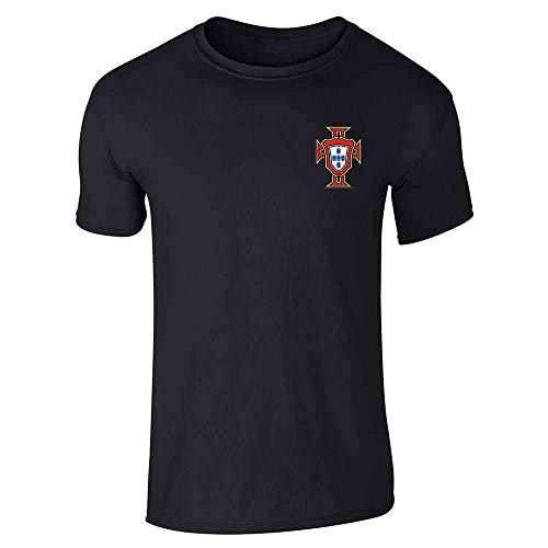 Portugal Soccer Retro National Team Football Black L Short Sleeve T-Shirt