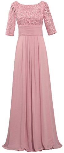 Women's Boat Neck Lace Chiffon Dresses Half Sleeve Evening Gown Size 22W US Blush