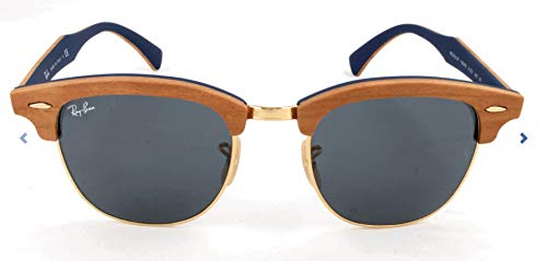 Ray-Ban RB3016M Clubmaster Wood Square Sunglasses, CHERRY RUBBER BLUE, 51 ()