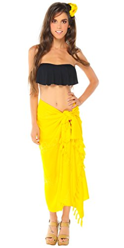 1 World Sarongs Womens Embroidered Swimsuit Cover-Up Pareo Sarong in Yellow (Best Mens Suits In The World)