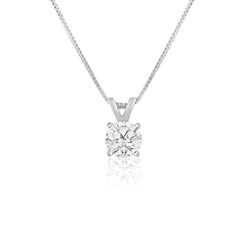 Outlet ags certified 14k white gold 12 carat solitaire diamond outlet ags certified 14k white gold 12 carat solitaire diamond pendant necklace i j aloadofball Gallery