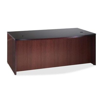 (Lorell D-Shaped Bowfront Desk - 72quot; Width x 42quot; Depth x 29quot; Height - Fluted Edge - Hardwood - Mahogany, Veneer)