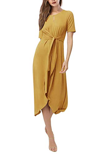 Yidarton Women's Summer Short Sleeve Dresses Front Tie High Low Casual Midi Dress with Belt(ye,XL) Yellow