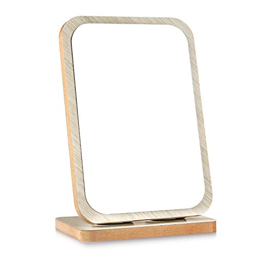 Tinland Makeup Mirror Wood Rustic Finish Countertop Table Stand Travel Mirror Foldable for Vanity Dresser Bedroom Bathroom Adjustable Angle(White)
