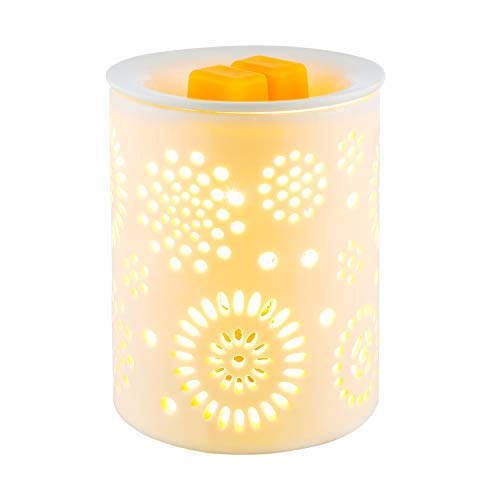 COOSA Electric Wax Melter Sunflower Pattern Ceramic Candle Warmer Wax Burner Melt Fragrance Warmer Incense Oil Warmer Night Light Aroma Decorative Lamp for Gifts, Decor for Home Office ()