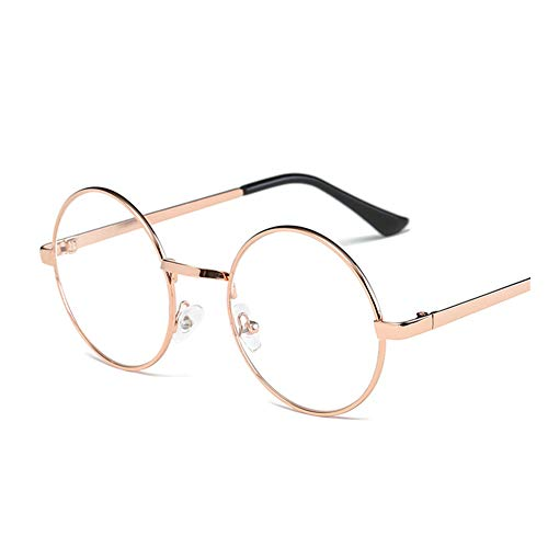 a46bc48ebdf Lovef Large Oversized Metal Frame Clear Lens Round Circle Vintage Eye  Glasses 5.42inch (Rose