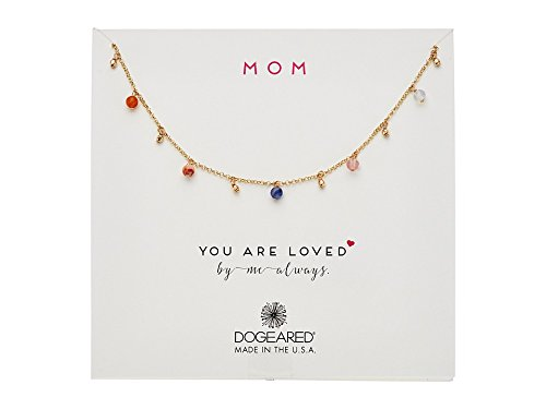 Dogeared Round Necklace - Dogeared Women's Mom, You Are Loved, Dangling Gem Necklace Gold Dipped One Size