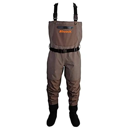 Image of Allcock Unisex's N402 Breathable Chest Waders, Khaki, L Fishing Boots & Waders