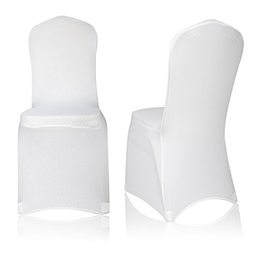EMART Set of 12pcs White Color Polyester Spandex Banquet Wedding Party Chair Covers (Dining Chair Covers White)