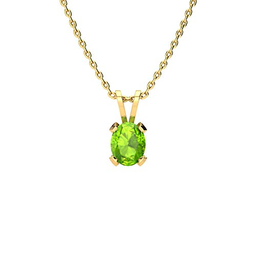 (3/4 Carat Oval Shape Peridot Necklace In Yellow Gold Over Sterling Silver, 18 Inches)