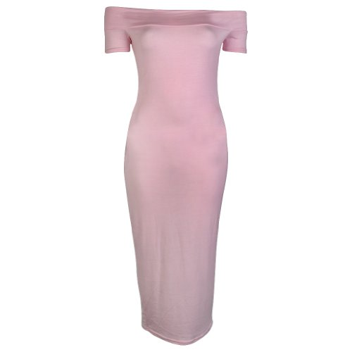 My1stWish Women's Off The Shoulder Bodycon Stretch Slim Fitted Long Midi Dress Light Pink Size 4/6