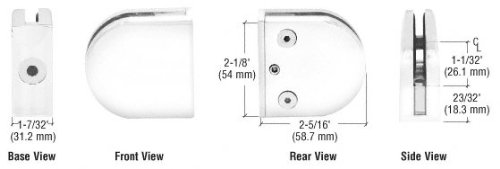 (C.R. LAURENCE Z412W CRL White Z-Series Round Type Flat Base Zinc Clamp for 1/2