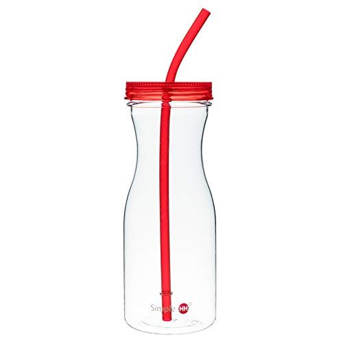 Simple HH Tritan BPA-Free Water Bottle with Straw 33oz Dishwasher-Safe Drinking Tumbler | Extra Wide Mouth w/Easy Twist Lid (Red)