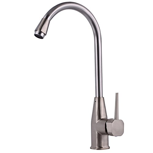 Kitchen Faucet Deck Mount Single Handle Cold Water Faucet 360 Degree Rotable High Arch Spout Touch On Kitchen FaucetBrushed