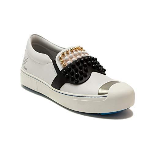 (Fendi Women's Calfskin Leather Karlito Slip-On Sneaker Shoes White)