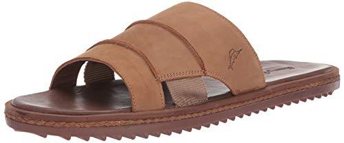 Tommy Bahama Men's Ruggero Slide Sandal, Cognac Leather, 14 D US