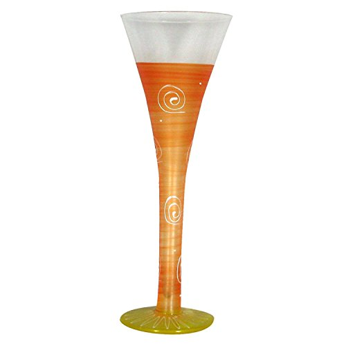 Hand Painted Frosted Champagne Glass - Set of 2 Frosted Orange Hand Painted Hollow Flute Drinking Glasses - 16 Oz.