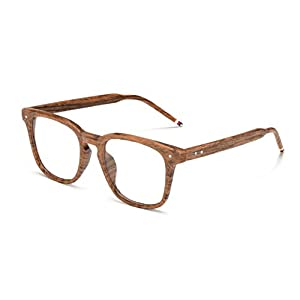 J&L Glasses Vintage Classic Full Frame Wood Grain Unisex Glasses Frame (Wooden, Clear)