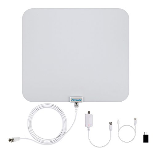Powilling HDTV Antenna 50 Miles Range, Indoor TV Antenna with Detachable Amplifier Booster USB Power Supply and 13.2ft Coaxial Cable - White