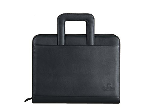 Professional Business Padfolio Portfolio Briefcase Style Organizer Folder with Handles Notepad and 3 Ring Binder - Black Synthetic Leather...