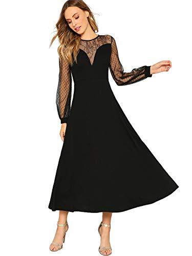 - Verdusa Women's Elegant Long Sleeve Mesh Sweetheart Neck Flared Maxi Dress Black XS