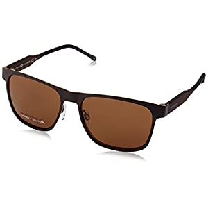 Tommy Hilfiger Th1394s Rectangular Sunglasses, Matte Brown Brown/Brown, 56 mm