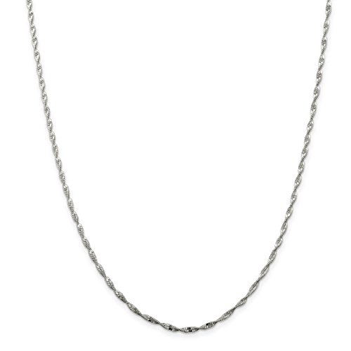 925 Sterling Silver 2mm Twisted Herringbone Chain Necklace 20