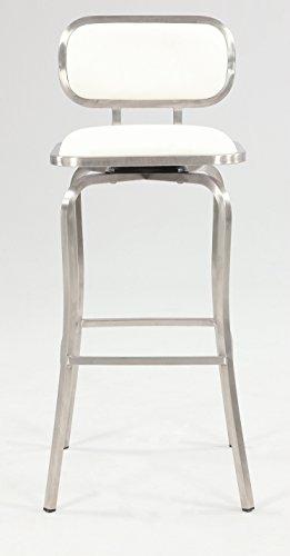 Chintaly Imports Modern Swivel Bar Stool, Brushed Stainless Steel/White PU