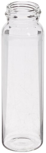 National Scientific B7999-S6 Silanized Glass Storage Vial, 40ml Volume, 28mm D x 95mm H, Clear (Pack of 100) by National Scientific