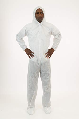 International Enviroguard White SMS Coverall with Attached Hood & Boot, 25 - Space Jumpsuit Crawl