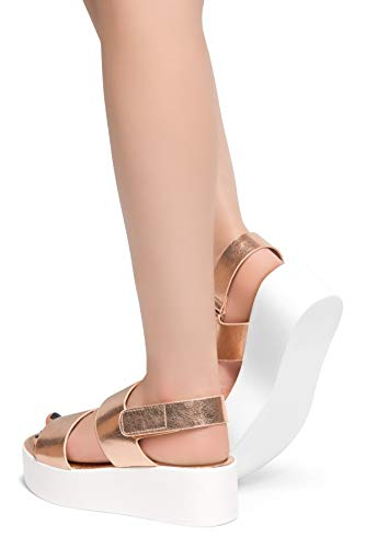 Velcro Comfortable Band Gld Double Rose BELMA Herstyle Platform Shoe Women's Flatform Sandals Y0UFIq