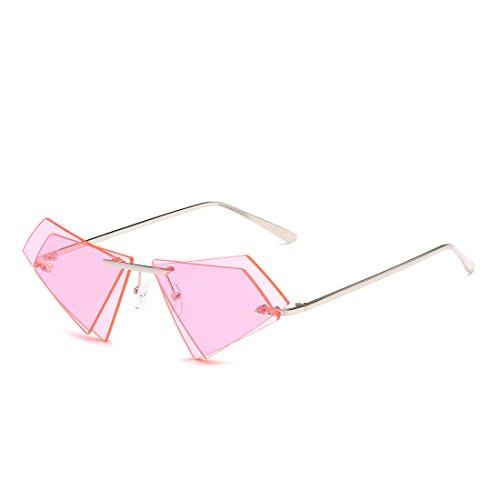 Frame Monture Soleil Pink Double Lens Les de Lens Frame Triangle et Tea Lunettes Silver pour sans Sakuldes Sunglasses Color Hommes Femmes Les Gold CpxaOqwO
