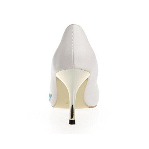 Punta Fino La De Las Mujeres Personalizado En White Manera White Otoño Tacón Alto Moda Highxe 36 41 Bordado Zapatos Mujer Punta A7qwXa