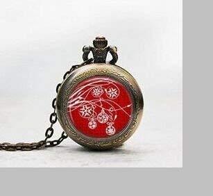 Pocket Watch Ornament - Christmas Pendant Pocket Watch,Christmas Ornaments Necklace Pocket Watch Charm, Dragonfly Pendant Pocket Watch Glass Tile Jewelry,Glass Christmas Ornaments Watch,Christmas Ornaments Potphoto