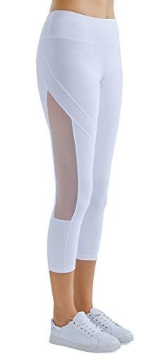 SPECIALMAGIC Women's Mid Waist Side Mesh Dry Fit Workout Capri Leggings with Inner Pocket White ()