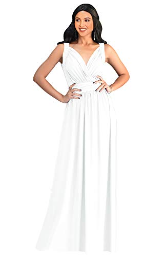 KOH KOH Plus Size Womens Long Sleeveless Flowy Bridesmaids Cocktail Party Evening Formal Sexy Summer Wedding Guest Ball Prom Gown Gowns Maxi Dress Dresses, Ivory White XL 14-16 ()