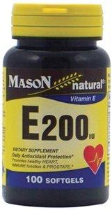 Mason Natural Vitamin E200 IU Softgels - 100 Ea (E200 Iu Natural)