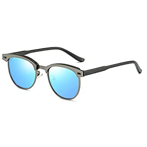 FEISEDY Classic Polarized Half Frame Brand Sunglasses Men Women B2250 (Gunmetal/Blue, 52)