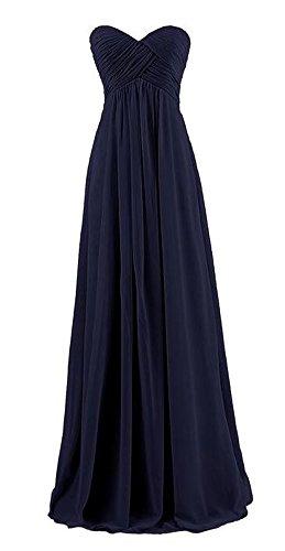 Arrowhunt Damen Chiffon Lange Elegant Bandeau Party Kleider Brautjungfernkleid mit Zurückreißverschluss