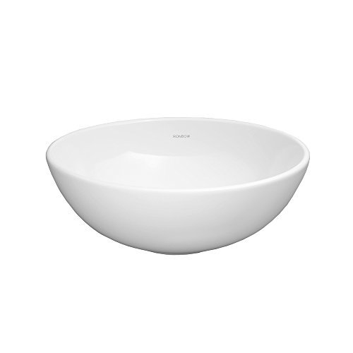 - RONBOW ESSENTIALS Contour 15 Inch Round Ceramic Vessel Bathroom Sink in White 200007-WH
