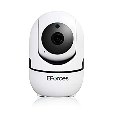 Wireless Home Security Dome Camera, EForces 1080p Smart Camera Baby Monitor with Pan/Tilt/Zoom, Night Vision, 2-Way Audio, and Motion & Audio Detection for Baby Pet Home Office by EForces