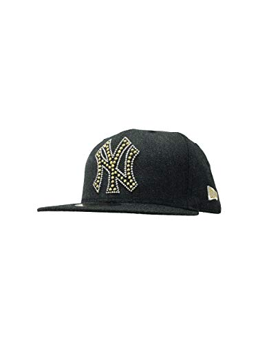 New Era Mens New York Yankees MLB Authentic Collection 59FIFTY Cap (7 3/8, Black/Gold Beaded)