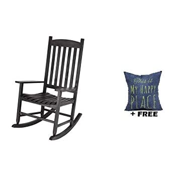 Tremendous Mainstay Outdoor Rocking Chair Solid Wood Black Free Pillow Creativecarmelina Interior Chair Design Creativecarmelinacom