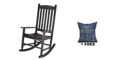 Astounding Mainstay Outdoor Rocking Chair Solid Wood Black Free Pillow Creativecarmelina Interior Chair Design Creativecarmelinacom