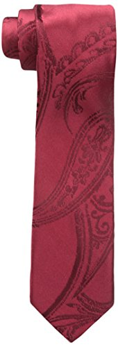 Sean John Men's Elegant Paisley Slim Tie, Red, One Size