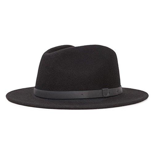 (Brixton Men's Messer Medium Brim Felt Fedora Hat, black/black, Small)