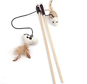 Interactive cat toys with wooden poles and cat sticks