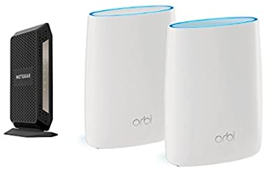 NETGEAR Orbi High-performance AC3000 Tri-band Mesh WiFi System (RBK50) Bundle with NETGEAR CM1000 Ultra-High Speed Cable Modem – DOCSIS 3.1 certified for XFINITY by Comcast (CM1000)